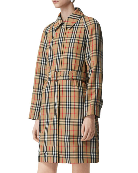 Burberry Kempton Vintage Check Belted Rain Coat