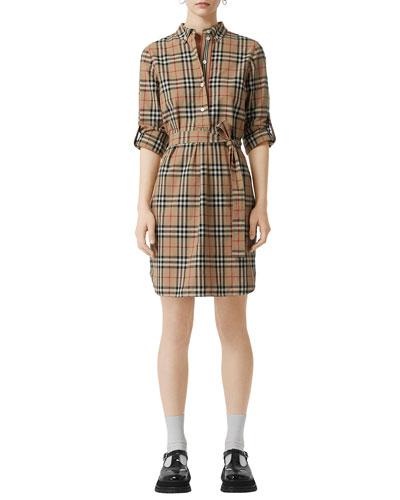 Vintage Check Cotton Tie-waist Shirtdress