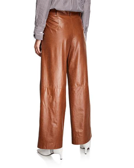 Brunello Cucinelli Wide-Leg Leather Pants