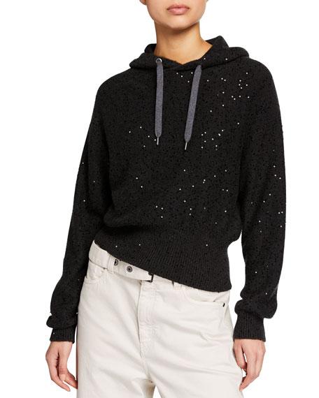 Brunello Cucinelli Cashmere-Silk Short-Bodied Hoodie Sweater