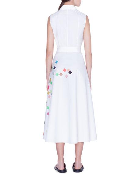 Akris punto Sleeveless Pixel-Print Poplin Shirtdress