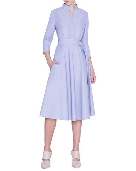Akris punto Striped 3/4-Sleeve Belted Shirtdress