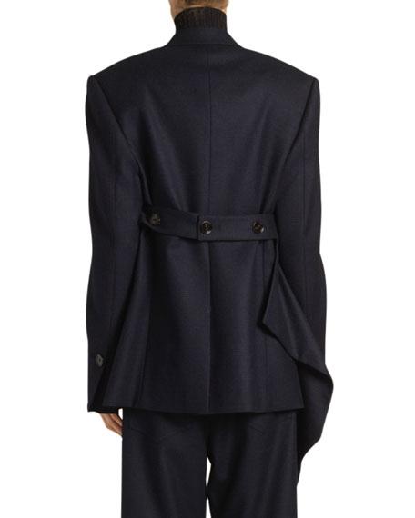 Proenza Schouler Draped Flannel Blazer, Blue/Black