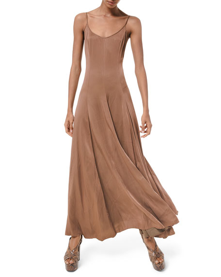 Image 1 of 2: Michael Kors Collection Crushed Satin Charmeuse Midi Dress