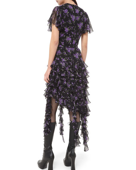 Michael Kors Collection Floral-Print Georgette Tiered Ruffle Dress