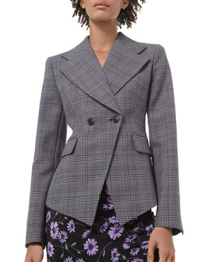 Michael Kors Collection Glen Plaid Pressed Wool Double-Breasted Blazer
