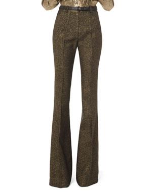 Michael Kors Collection Metallic Wool Flare-Leg Pants