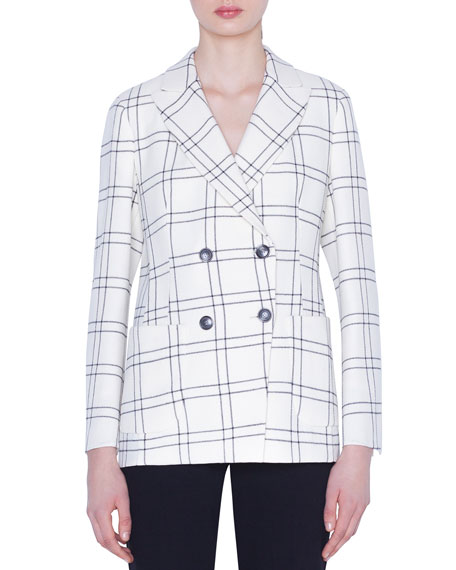 Akris Danita Check Wool Crepe Jacket
