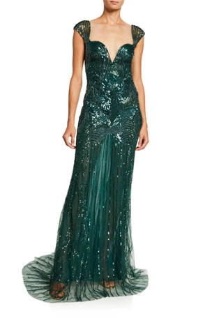 Monique Lhuillier Sequin-Embroidered Chiffon Gown