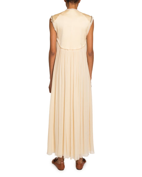 Chloe Embroidered-Yoke Chiffon Dress