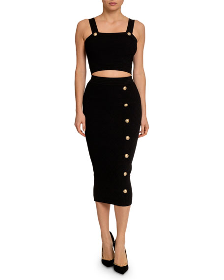 Balmain Diamond-Knit Thin-Strap Crop Top