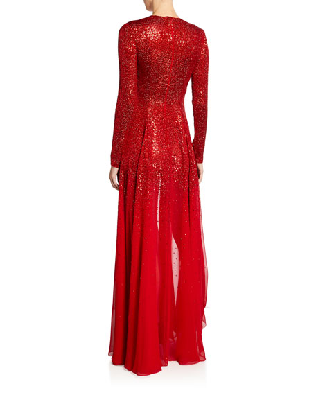 Oscar de la Renta Degrade Sequined Silk-Chiffon Gown