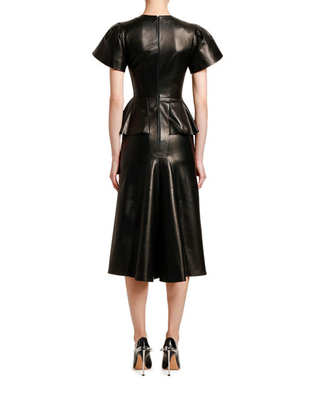 Alexander McQueen Leather Peplum-Waist Cocktail Dress