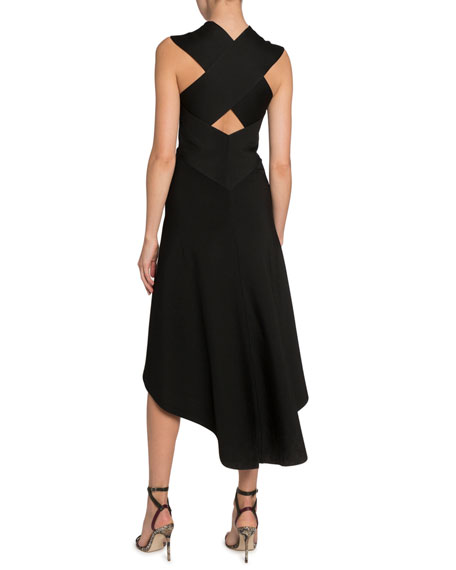 Victoria Beckham Shiny Compact Long Cross-Back Dress