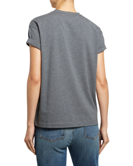 Brunello Cucinelli Cotton Micro Sequin-Striped T-Shirt