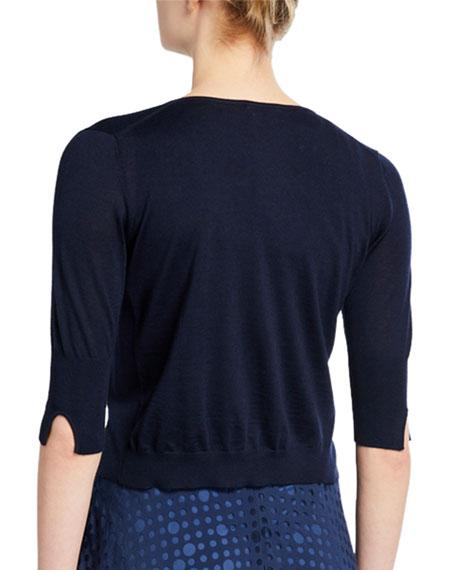 Akris punto Cropped Wool Knit Cardigan
