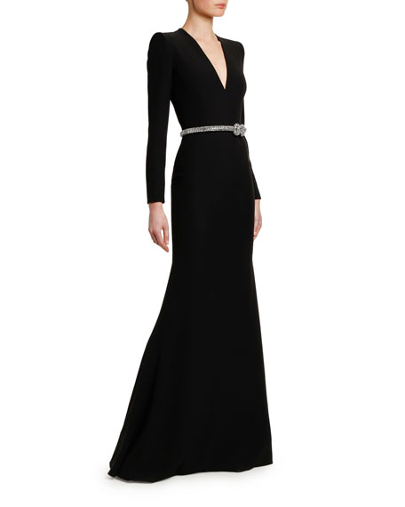 Alexander McQueen Crystal-Belted V-Neck Long-Sleeve Gown