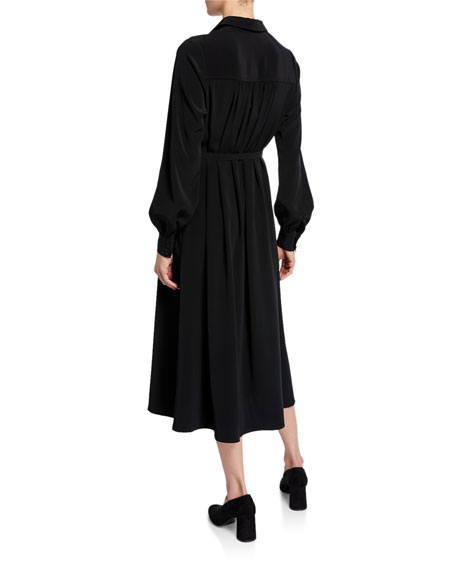 Co Long-Sleeve Belted Midi Shirtdress