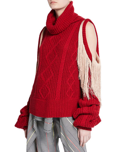 Lawrence Turtleneck Sweater with Shoulder Cutouts & Fringe