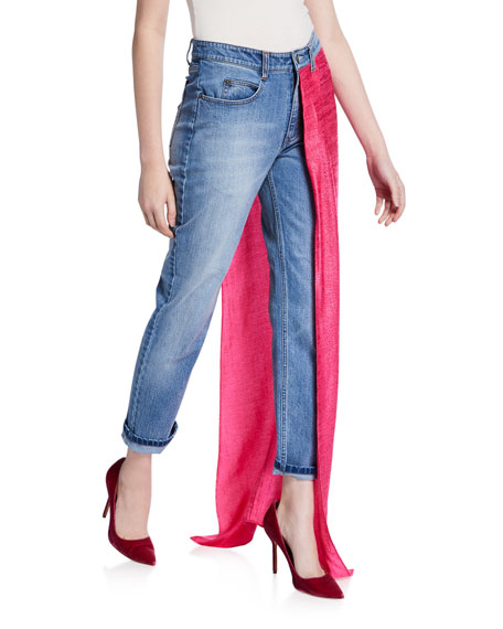 Hellessy Aston Distressed Jeans with Draped-Lame Overskirt