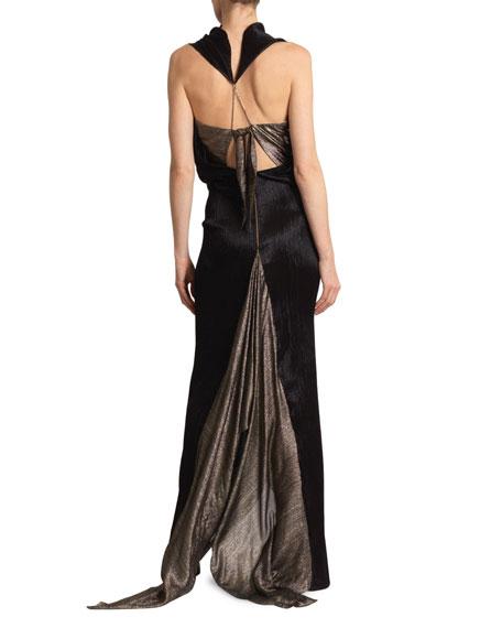 Roland Mouret Nola Metallic Plisse Chainmail Gown