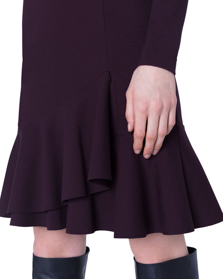 Akris punto Long-Sleeve Wrapped Skirt Jersey Dress