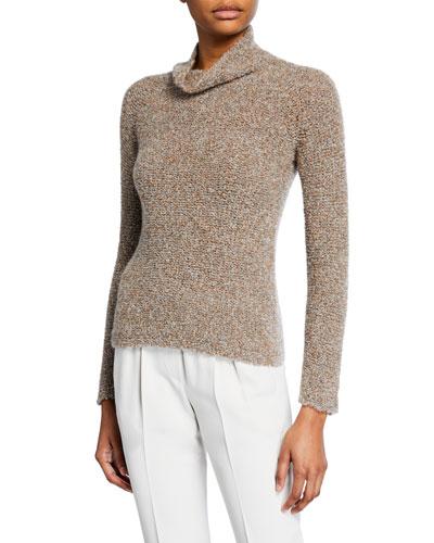 Cashmere Silk Waffle-Stitch Sweater