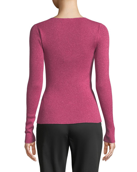 Image 2 of 2: Scoop-Neck Shimmer Sweater