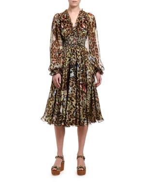 8f751148 Dolce & Gabbana Leopard-Print Chiffon V-Neck Dress. Favorite. Quick Look