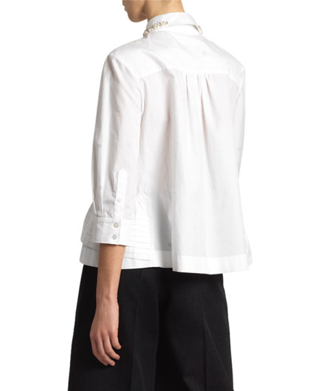 Simone Rocha Poplin Button-Back Puff-Sleeve Top