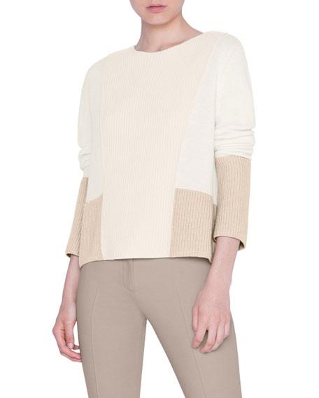 Akris punto Tri-Tone Plastron Wool-Cashmere Sweater
