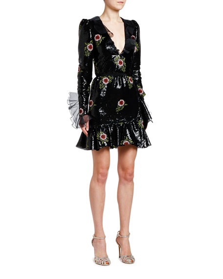 Giambattista Valli Floral Embroidered Sequin V-Neck Mini Dress