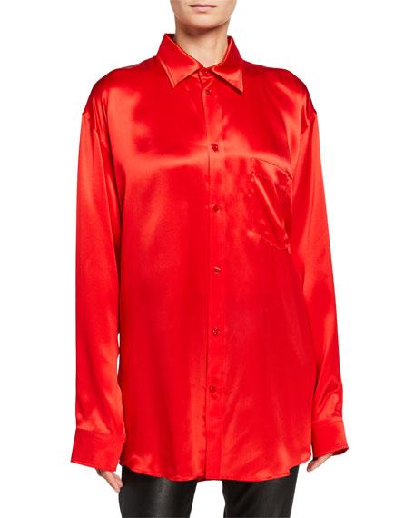 Balenciaga Silk Satin Tie-Neck Shirt