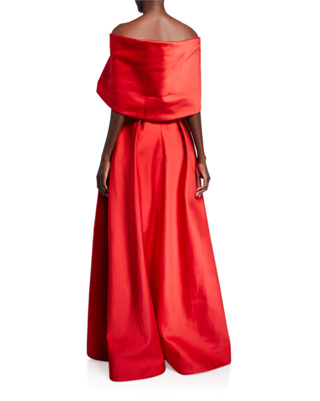 Zac Posen Taffeta Off-the-Shoulder Portrait Collar Gown