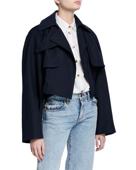 Khaite Krista Cotton Cropped Trench Jacket