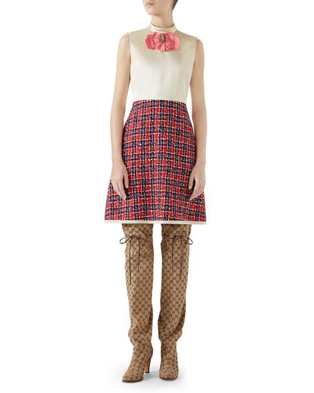 Gucci Sleeveless A-Line Dress w/ Tweed Skirt & Satin Bodice