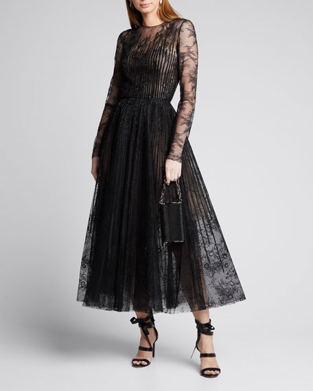 Oscar de la Renta Long Sleeve Lace Illusion Cocktail Dress