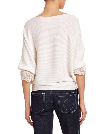 Chloe Lace-Cuff Wool-Silk Sweater