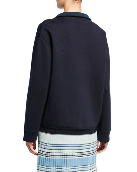 Loro Piana Silk-Knit Zip-Front Bomber Sweater