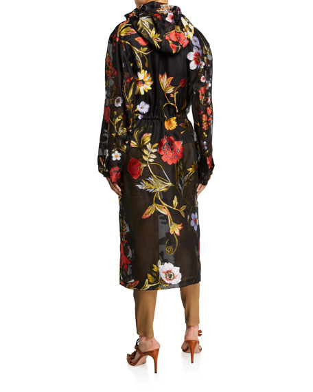 Oscar de la Renta Floral Embroidered Chiffon Collared Coat