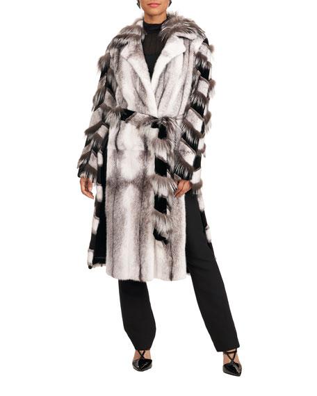 Burnett New York Mink Short Coat w/ Fox Intarsia Sleeves Side Panel Belt