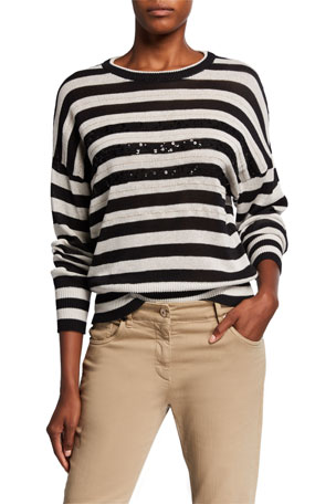 Brunello Cucinelli Wide Striped Crewneck Sweater w/ Monili