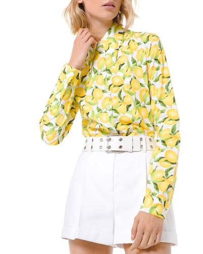 Lemon Print Button-Down Cotton Shirt
