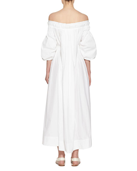 Image 2 of 3: Gabriela Hearst Galatea Pleated Off-the-Shoulder Dress