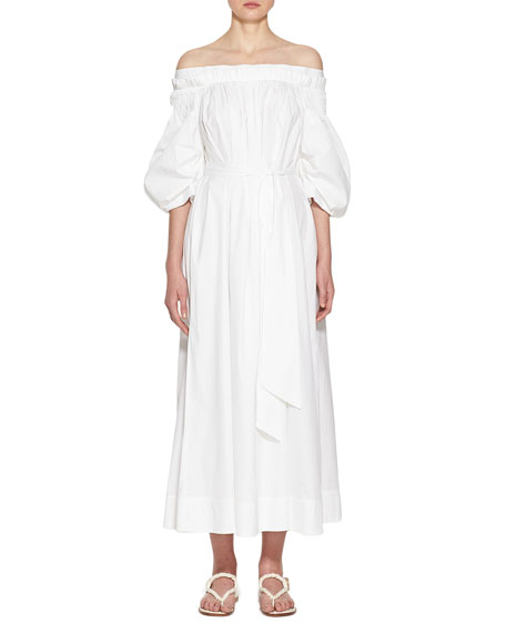 Image 1 of 3: Gabriela Hearst Galatea Pleated Off-the-Shoulder Dress