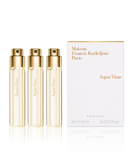 Aqua Vitae Eau de Toilette Travel Spray Refills, 3 x 0.37 oz./ 11 mL