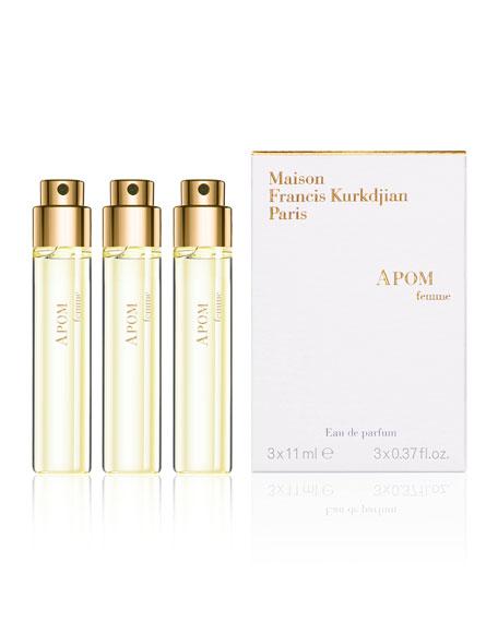 Maison Francis Kurkdjian APOM femme Eau de Parfum Travel Spray Refills, 3 x 0.37 oz./ 11 mL