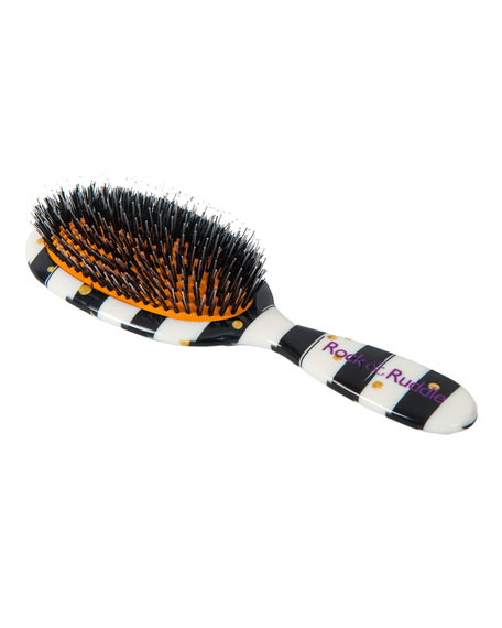Large Black Stripes with Gold Dots Mixed Bristle Hairbrush