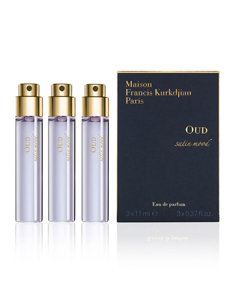 Maison Francis Kurkdjian OUD satin mood Eau de Parfum Travel Spray Refills, 3 x 0.37 oz./ 11 mL