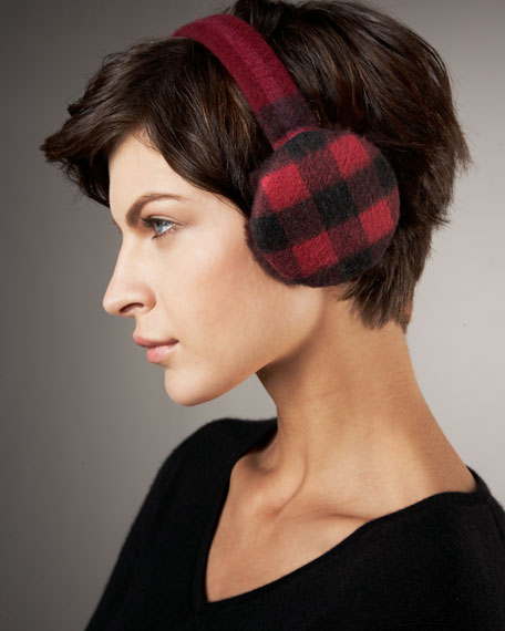 Check Cashmere Earmuffs, Bright Burgundy